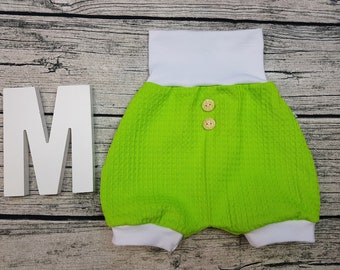 Bloomer Short pants Summer baby pants baby trousers Pumphose tourist waffle towel wooden buttons apple green Kiwi white unisex young girls