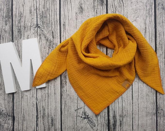 Featured listing image: Triangular scarf muslin cloth burb bandana muslin cloth baby bandana children's scarf hipster Hipstertuch mustard mustard yellow ocher ochre