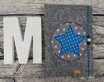 UHefthülle U-Tack star asterisk star stars personalized embroidered U notebook Baby Child Examination booklet felt Uheft sleeve UHefthülle vaccination