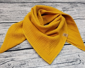 Ochre mustard yellow embroidered with name triangular cloth muslin Scarf burb bandana muslin cloth baby bandana child scarf hipster Hipstertuch