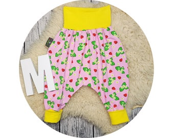 Wax trousers, Pumphose, harem trousers, baby pants, baby, trousers, Jerseyhose, strawberries, fruit, fruits