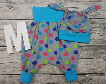 Set baby pants knot cap baby panty cap baby kit Newborn gift Pumphose harem trousers trousers dots confetti young girl