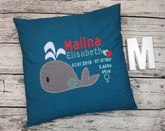 Baby Cushion birth Cushion child gift girl whale delivery birth Lady 50x50