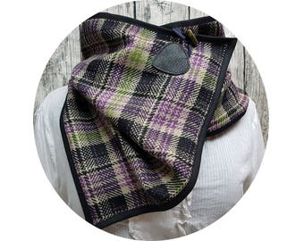 Winter scarf, winter towel, winter, autumn, scarf, shawl, scarf, scarf, xxl-cloth, checkered, diamonds, purple, black, wool, wrapped