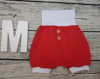 Bloomer Short pants Summer baby pants baby trousers Pumphose tourist waffle towel wooden buttons Uni Red white unisex young girl