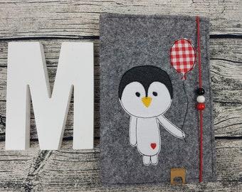 UHefthülle U-issue Penguin Pingu bird hipster personalized embroidered u notebook Baby Child Examination booklet felt Uheft sleeve u heftHülle Name