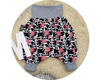 Wax trousers, Pumphose, harem trousers, baby pants, baby, trousers, Jerseyhose, Panda, Bear, hipster, hip, black, white