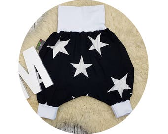 Pumphose, harem trousers, baby pants, baby, trousers, Jerseyhose, wax trousers, stars, black, white, hipster, hip