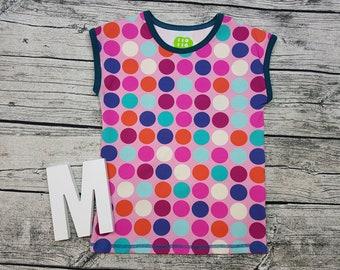 Tshirt Mädchehnshirt dots dot rainbow pink petrol cut sleeve short sleeve gift kids shirt Shirt