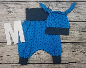 Set baby pants knot cap baby panty cap baby kit Newborn gift Pumphose harem pants Star star turquoise petrol young girl