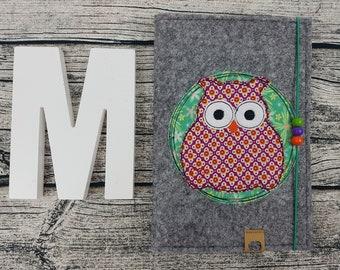 UHefthülle U-Staple owl bird animals owl Retro Personalized embroidered u booklet Baby Child examination Notebook felt Uheft sleeve u heftHülle Name