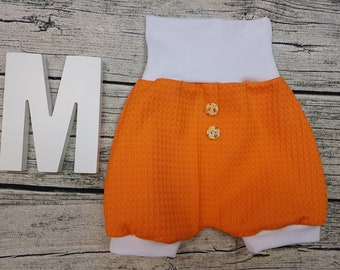 Bloomer Short pants Summer baby pants baby trousers Pumphose tourist waffle towel wooden buttons Uni Orange white unisex young girls