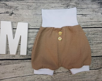 Bloomer Short pants Summer baby pants baby trousers Pumphose tourist waffle towel wooden buttons Uni Beige Caramel White unisex young girl
