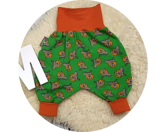 Pumphose, harem trousers, trousers, baby pants, baby, wax trousers, lion, animal, jungle, lion, fighter, wild