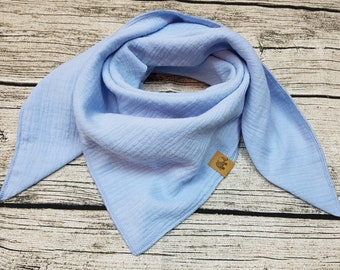 Blue Blue scarf muslin cloth burb scarf muslin cloth kid scarf hipster embroidered with name
