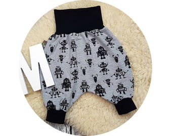 Pumphose, harem trousers, trousers, baby pants, baby, wax trousers, robot, robot, alien, technology, grey, grey, black, guys