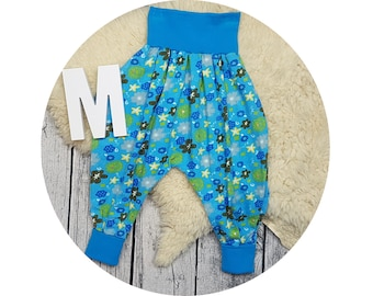 Wax trousers, Pumphose, harem trousers, baby pants, baby, trousers, Jerseyhose, flower, flowers, sequins, aqua