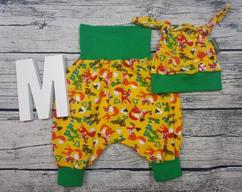 Set baby pants knot cap Baby wax pants babyset Newborn gift Pumphose harem pants Fox Fox Rainbow Young Girl