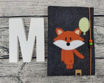 UHefthülle U-issue Fox Fox animal Balloon Foxes personalized embroidered u notebook Baby Child Examination booklet felt Uheft sleeve u heftHülle Name