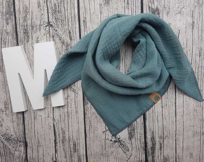Featured listing image: Muslin cloth burb scarf muslin cloth baby scarf hipster Hipstertuch petrol turquoise midnight Petrol