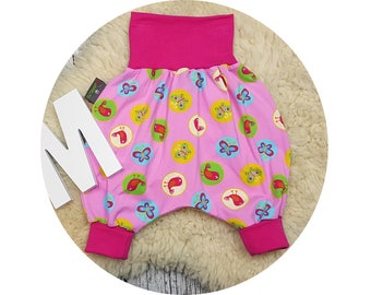 Baby pants, baby, trousers, Jerseyhose, wax trousers, Pumphose, harem trousers, bird, pink, butterfly