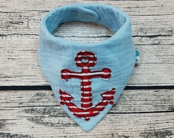 Baby scarf anchor maritim sea triangular scarf baby scarf muslin cloth muslin Personalized Embroidered burb cloth button buttons