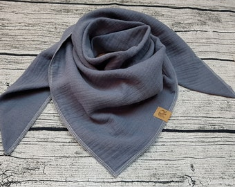 Grey elephant grey triangular scarf muslin cloth burb bandana muslin cloth baby bandana kids scarf hipster with name embroidered gift