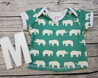 Tshirt Babyshirt Elephant Elephant retro Skandi hipster turquoise Sweden American neckline Short sleeve gift Baby wax Shirt