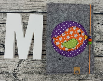 UHefthülle U-Staple bird birdie bird retro tweet personalized embroidered u booklet Baby Child examination Notebook felt Uheft sleeve u heftHülle Name