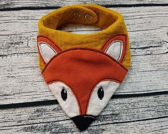 Baby Scarf fox triangular scarf scarf animals forest fox forest animals muslin cloth muslin Scarf baby Personalized embroidered burb cloth