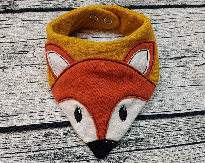 Featured listing image: Baby Scarf fox triangular scarf scarf animals forest fox forest animals muslin cloth muslin Scarf baby Personalized embroidered burb cloth