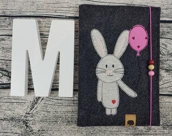 UHefthülle U-Tack Bunny Bunny balloon bunny Personalized embroidered U Notebook Baby Child Examination booklet felt Uheft sleeve u heftHülle Vaccination
