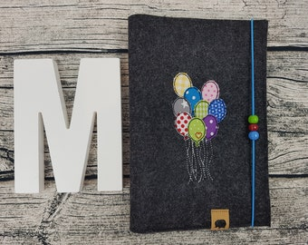 UHefthülle U-Tack balloon air balloons personalized embroidered u notebook Baby Child Examination booklet felt Uheft sleeve u heftHülle with Name