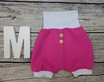 Bloomer Short pants Summer baby pants baby trousers Pumphose tourist waffle towel wooden studs uni Pink Pink white unisex young girls
