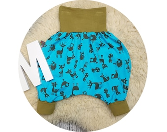 Baby pants, baby, trousers, Jerseyhose, wax trousers, Pumphose, harem trousers, deer, hedgehog, fox, Forest, animals, trees