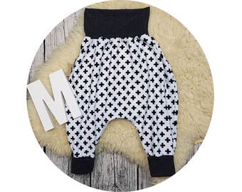 Jerseyhose, wax trousers, Pumphose, harem trousers, baby pants, baby, trousers, crosses, cross, hip, hipster, black, white