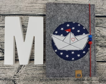 UHefthülle U-Heft maritime Paper boat Boat Marine Personalized embroidered U Notebook Baby Child Examination booklet felt Uheft sleeve u heftHülle