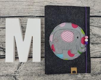 UHefthülle U-Notebook elephant retro animals Zoo personalized embroidered U Notebook Baby Child Examination booklet felt Uheft sleeve u heftHülle with Name