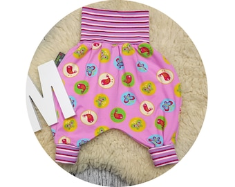 Wax trousers, Pumphose, harem trousers, baby pants, baby, trousers, Jerseyhose, bird, Pink, Butterfly, marigold