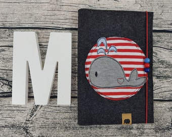 Hefthülle U-Staple whale maritime fish Sea personalized embroidered u Notebook Baby Child Examination booklet felt Uheft sleeve u Hefthülle Vaccination