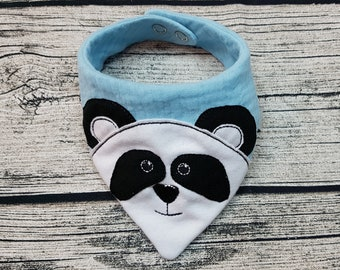 Baby Scarf Panda bear triangular scarf muslin cloth muslin scarf Teddy Zoo baby personalized embroidered burb cloth