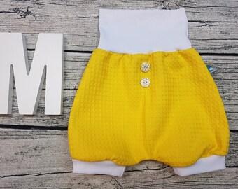 Bloomer Short pants Summer baby pants baby trousers Pumphose tourist waffle towel wood studs uni mustard yellow white unisex young girl