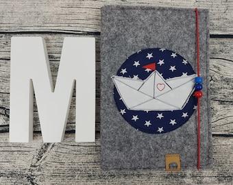 3in1 u Hefthülle U-Tack maritim papier boot boat Marine personalisert embroidered U staple Baby Child Examination booklet felt Uheft sleeve UheftHülle