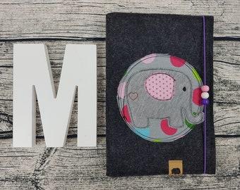 3in1 u Hefthülle U-notebook elephant retro animals Zoo Personalisert embroidered U Notebook Baby Child Examination booklet felt Uheft sleeve UheftHülle