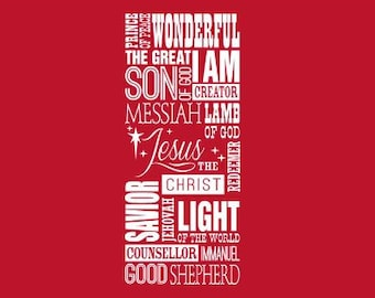 "46"" Names for Jesus Prince Of Peace Son Creator Saviour Wall Decal Sticker Christmas Messiah Christ Immanuel Jehovah Lamb God Good Shepard"