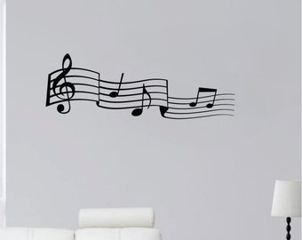 """36"""" Music Note Scale Detailed Symbols Sheet G Clef Treble Wall Decal Sticker Art Mural Home Décor Quote"""