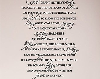 """36""""x24"""" FULL Serenity Prayer Religious God Grant Me Wall Decal Sticker Art Mural Home Decor Quote Wall Decal Sticker"""