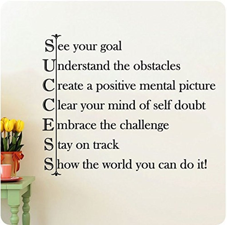 28 SUCCESS See Your Goal Understand the Obstacles Positive Mental Picture Clear Your Mind Self Doubt Embrace Challenge Wall Decal Sticker