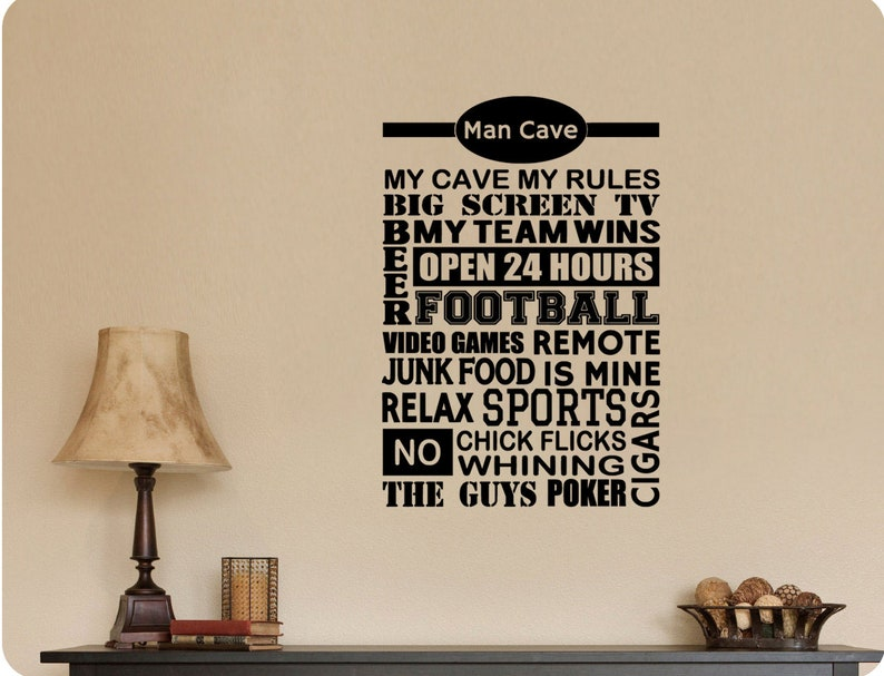 Man Cave Rules Touchdown Beer Poker Cigars Kickoff Interception Defense End Zone Field Goal Tackle Football Collage Wall Decal Sticker