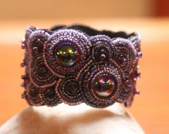 Handmade purple embroidered Beaded bracelet